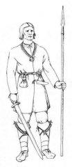 Līvu vārdi Ādažu apkārtnē: Kadaga, Lilaste, Iļķene, ezeri - Ummis (Umma), Uika, Serģis. Līvu vīrietis 10.-12.gs. A. Zariņas zīmējums.