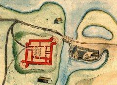 1297. gadā uz nelielās upītes, tā sauktā Bukultu strauta, starp Juglas un Ķīšezeru Livonijas ordenis uzcēla Jaunās dzirnavas- Neuermühlen. Dažus gadus vēlāk iepretim dzirnavām slējās mūra pils. 16.gs.zīmējums.