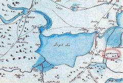 Ādažu pils un apkārtne senā (Ē.Tolka) kartes fragmentā.1701.gads.